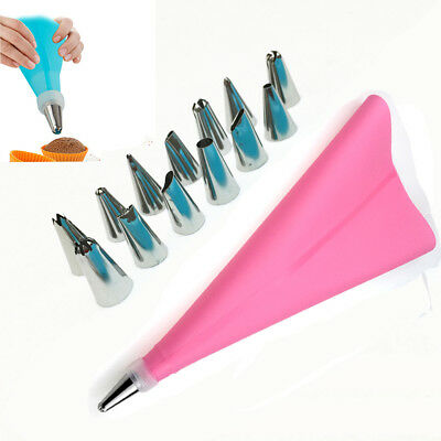14* Nozzle Cake Decorating Baking Tool+ Silicone Icing Piping Cream Pastry Bag
