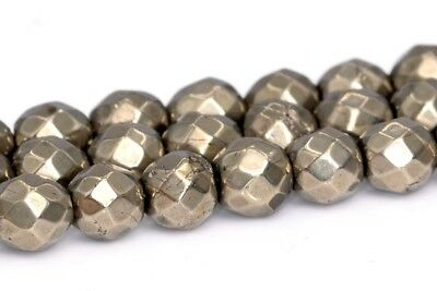 """4MM Natural Dark Green Pyrite Beads Grade AAA Faceted Round Loose Beads 15.5/"""""""