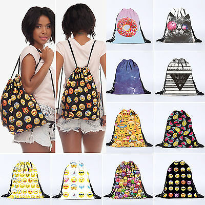 Emoji Girls Boys Kids Drawstring Swim Sport Shoe Dance Bag Schoolbag Backpack PE