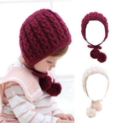 Cute Baby Girls Toddler Crochet Knit Pompom Hat Beanie Cap Bonnet Photo Prop