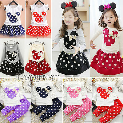 2Pcs Baby Kids Girls Clothes Minnie Polka Dot Tops Pants Dress Skirt Outfits Set