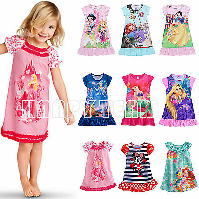 Girls Kids Nightie Nightdress Disney Dress Character Children Pyjamas 2-13 Years