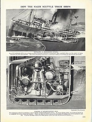 Vintage Military Print - HOW THE GERMANS SCUTTLE THEIR SHIPS