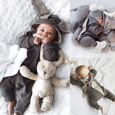 Newborn Baby Girl Boys Rabbit 3D Ear Romper Warm Hooded Bodysuit Outfits Clothes