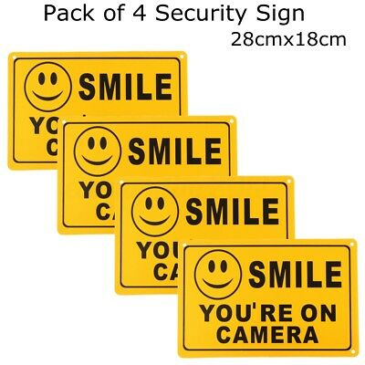 4X SMILE YOU'RE ON CAMERA Business Warning Security Yellow Sign 11''X7'' Decal