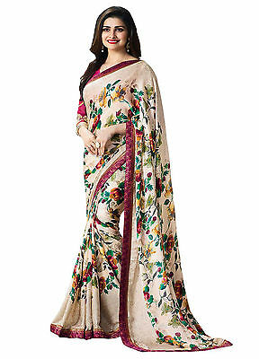 Multi Color Floral Bollywood Saree Indian Party Designer Sari