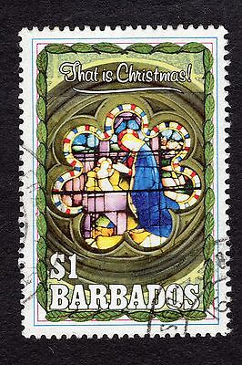 1990 Barbados $1 Christmas stained glass SG946 FINE USED R32480