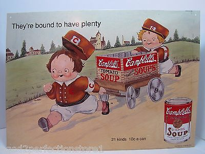 Campbell's Soup Sign 'They're bound to have plenty' embossed tin adv sign