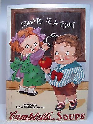 Campbell's Soup Sign 'Makes Learning Fun - Tomato is a Fruit' embossed tin adv