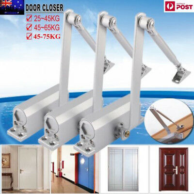 Heavy Duty Adjustable Fire Rated Hold Open Silver Door Closer Suits 25~75KG AU