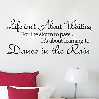 Soledi New Dance in the Rain Quote Wall Decal Motto DIY Art Wall Decor Vinyl Wal