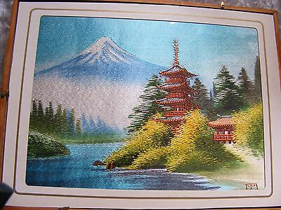 Vintage Japanese Embroidery Silk Panel Mount Fuji Pagoda - Signed  Framed