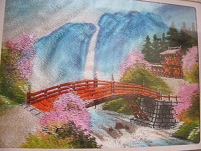 Vintage Japanese Embroidery Silk Panel Waterfall, Bridge Pagoda - Signed  Framed