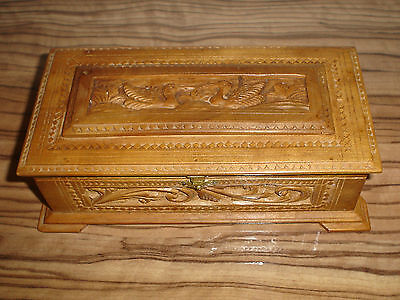 Antique South India Carved Sandalwood Jewelry Box