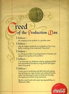 Coca Cola Creed of the Production Man Certificate with Yellow Ribbon