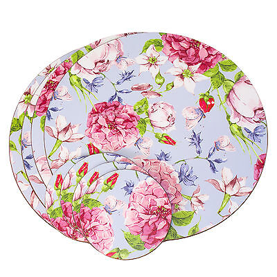 Set of 4 Placemats & Coasters Table Place Settings Mats Vintage Floral Flowers