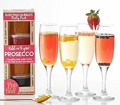 Popaball Bursting Bubbles Party Pack For Prosecco 4 x 125g Fruity Flavour Drinks
