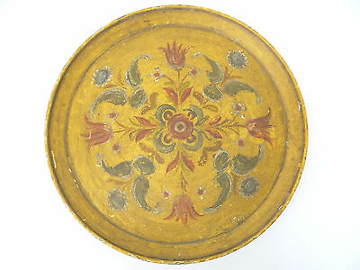 Antique Old Paper Mache Hand Painted Yellow Flowers Red Primitive Serving Tray