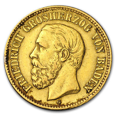 1877 Germany Gold 5 Marks Baden Friedrich I (Scruffy) - SKU#153324