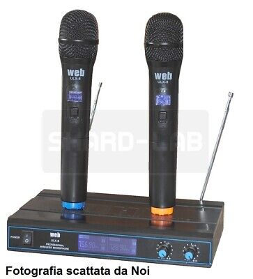 "Coppia Radio Microfoni Professionali Wireless Vhf ""Pro"" Con 3 Display Bi-Canale"