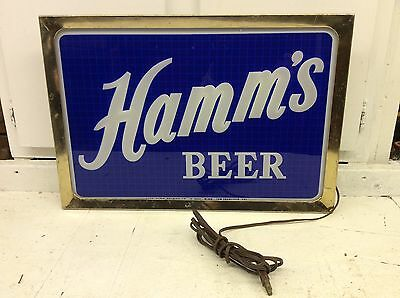 "Hamm's Beer Double Sided Lighted Glass/Metal Advertising Sign - 20.25"" x 14"""