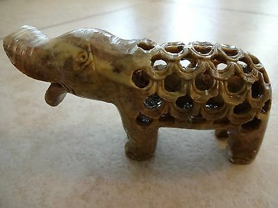 Vintage soapstone carving hippo within a hippo hand made India, chipped