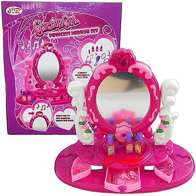 Girls Princess Mirror Set Dressing Beauty Make Up Table With Light Musical Toy