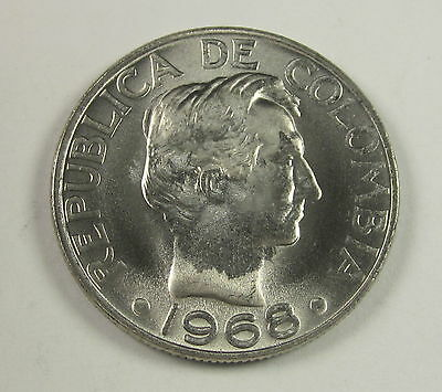Colombia Copper Nickel 50 Centavos, 1968,  Circulated, Uncertified