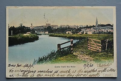 R&L Postcard: 1903 Exeter from River, Coloured View