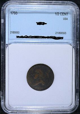 1793 Half Cent, Vg Very Rare Early Coin Has Some Corrosion But Solid Details