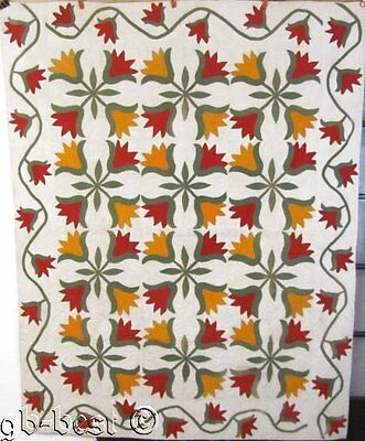 "Stunning PA Folk Art! c 1870s ""Full Blown TULIPS"" Antique Applique Quilt red che"