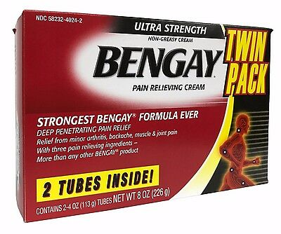 Bengay Pain Relieving Cream 2 Pack Ultra Strength Non Greasy Net 8 OZ