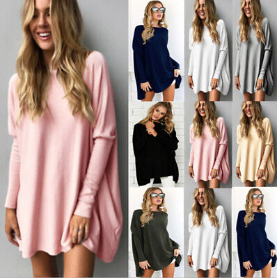 Womens Long Sleeve Oversized Pullover Sweater Jumpers Ladies Loose Tops Blouse
