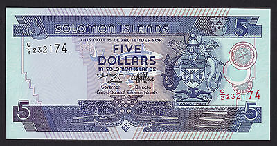 Solomon Islands Five Dollars Banknote 1997 P-19a Ascending Serial Number UNC