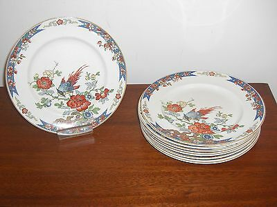 "9 Stunning 1917 Wood & Sons England 9 1/2"" Bird Of Paradise Dinner Plates"