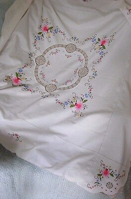 "Vintage Hand Embroidered Cross Stitch Floral Rose & Crochet Tablecloth 46"" X 46"""