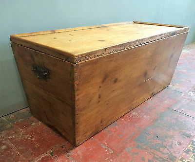Victorian Pine Ottoman Blanket Chest /antique Trunk /bedding Box /coffee Table.