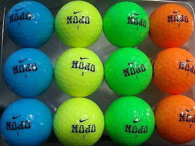 12 x NIKE MOJO COLOURED GOLF BALLS - PEARL/AAA GRADE ORANGE, BLUE, YELLOW, GREEN