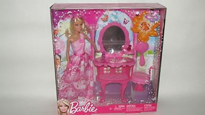 Mattel BCC57 Barbie Princess and Make up table NEW