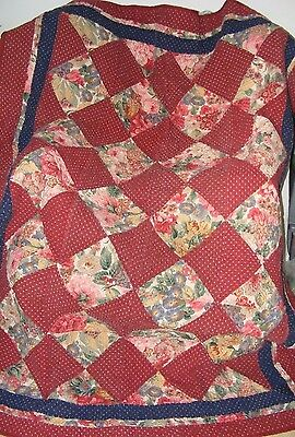 """Vintage Welsh Durham Hand Stitched Quilt Roses & Maroon 57"""" X 71"""" Single"""