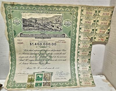 1936 Mining Stock With Stamps And Coupons.