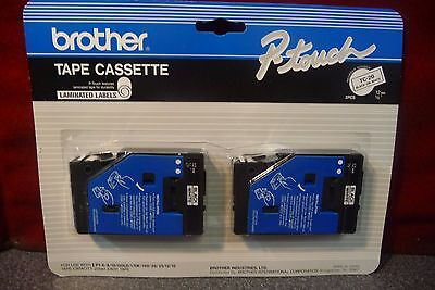 Brother Black/white Laminated Labels Tape Cassette TC-20 -Sealed Package-7792
