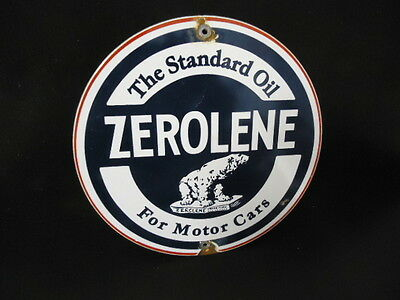 Zerolene Porcelain Enamel Gas Pump Oil Lubester Service Station Sign