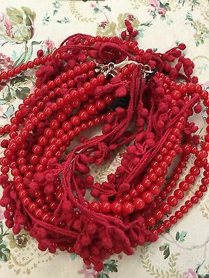 Fabulous MNG by Mango Juicy Red Statement Bead Knit Fringe Necklace