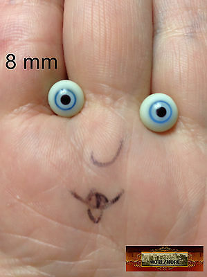 M00235 MOREZMORE Miniature. Glass Eyes 8mm Blue Mini Small 8 mm Doll Baby