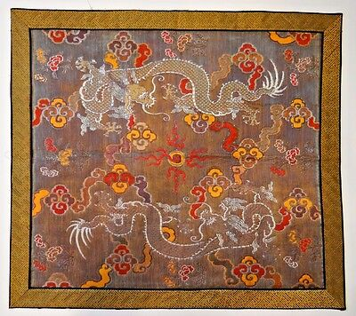 19th C. Qing Dynasty Chinese Silk Brocade-Woven Dragon Kang Cover/Panel-GORGEOUS