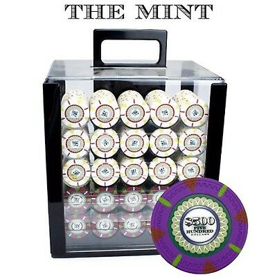 Claysmith Gaming 1000-Count 'The Mint' Poker Chip Set in Acrylic Case 13.... NEW