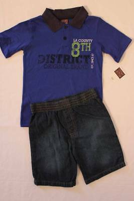 NEW Boys 2 piece Outfit Size 5 - 6 Blue Polo Shirt Denim Jeans Shorts Set Nice