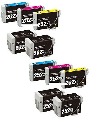 10-Pk/Pack 252 252XL T252XL Ink Cartridge For Epson WF-3620 3640 7610 7620 7110