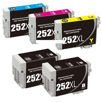5-Pk/Pack Reman 252 252XL T252XL Ink For Epson WF-3620 3640 7610 7620 7110